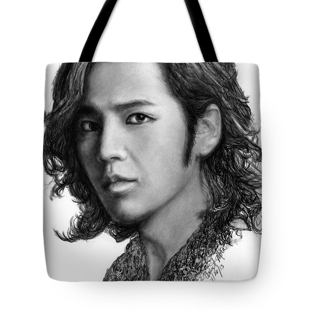 Actor Tote Bag featuring the drawing Jang Geun Suk by Carliss Mora