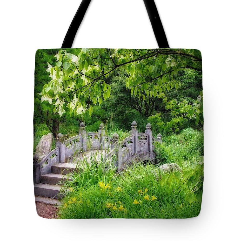 Bridge Tote Bag featuring the photograph Japanese Garden by Gabi Siebenhuehner
