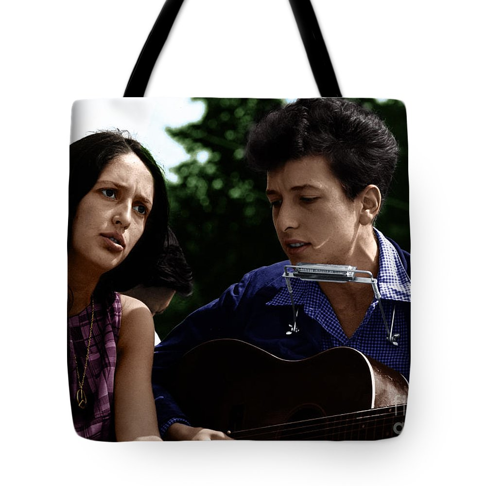 Joan Baez Tote Bag featuring the photograph Joan Baez With Bob Dylan by Celestial Images