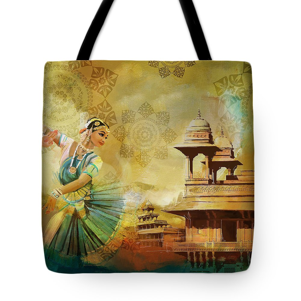 Pakistan Tote Bag featuring the painting Kathak Dancer by Catf