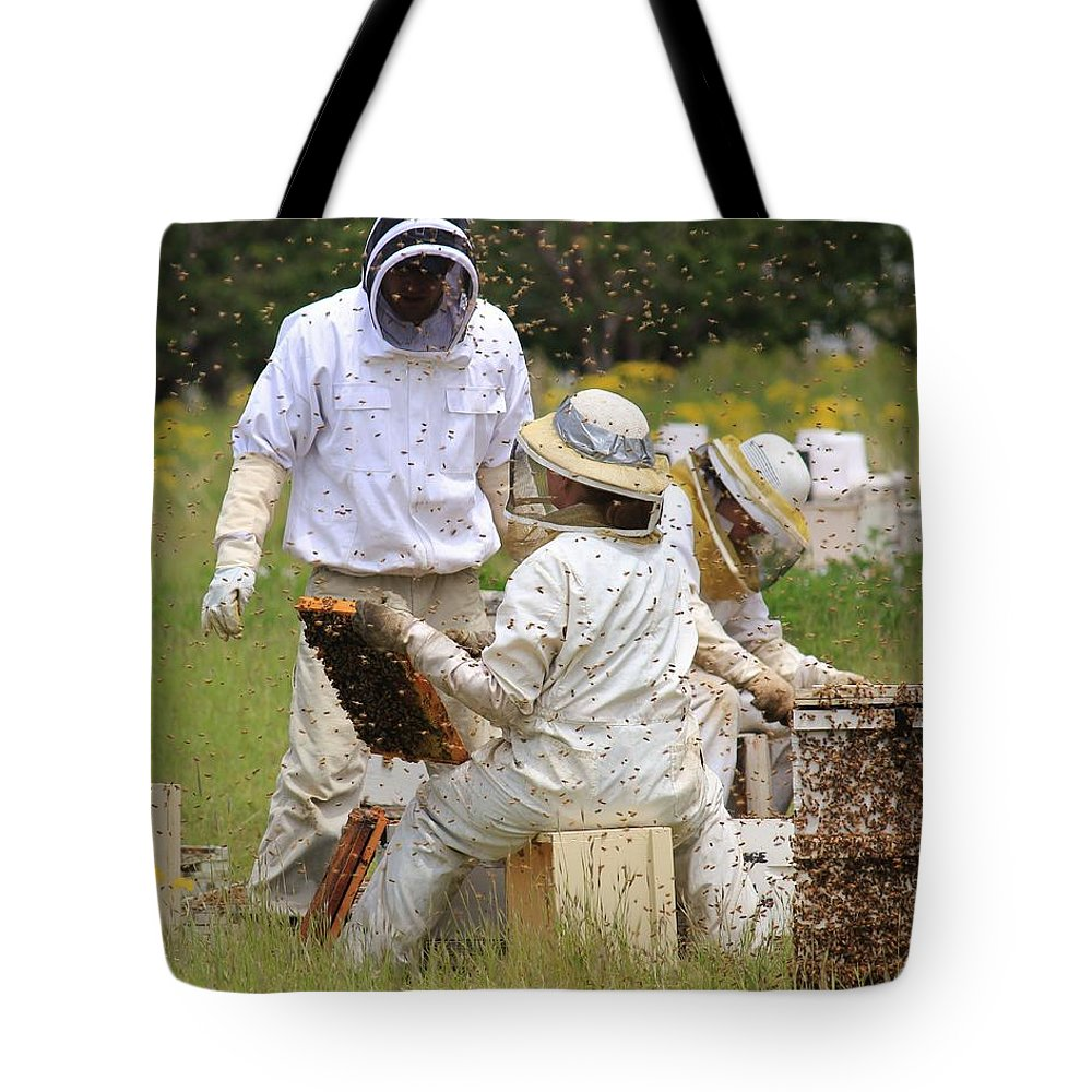 Bees Tote Bag featuring the photograph Keepers Of The Harvest by Roxie Crouch