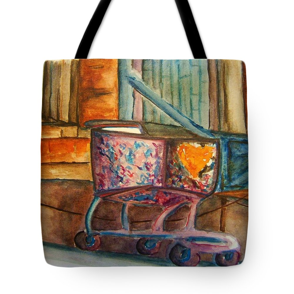 Cart Tote Bag featuring the painting Kidnapped Cart by Elaine Duras