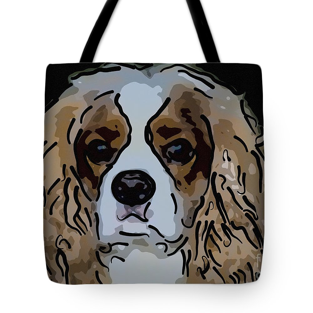 King Charles Tote Bag featuring the digital art King Charles Art by Dale Powell