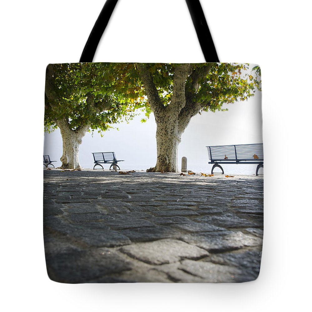 Benches Tote Bag featuring the photograph Lakefront by Mats Silvan