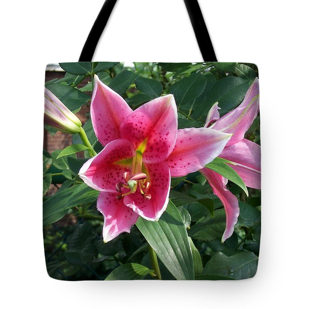 Pink Tote Bag featuring the photograph Lilies by Catherine Gagne