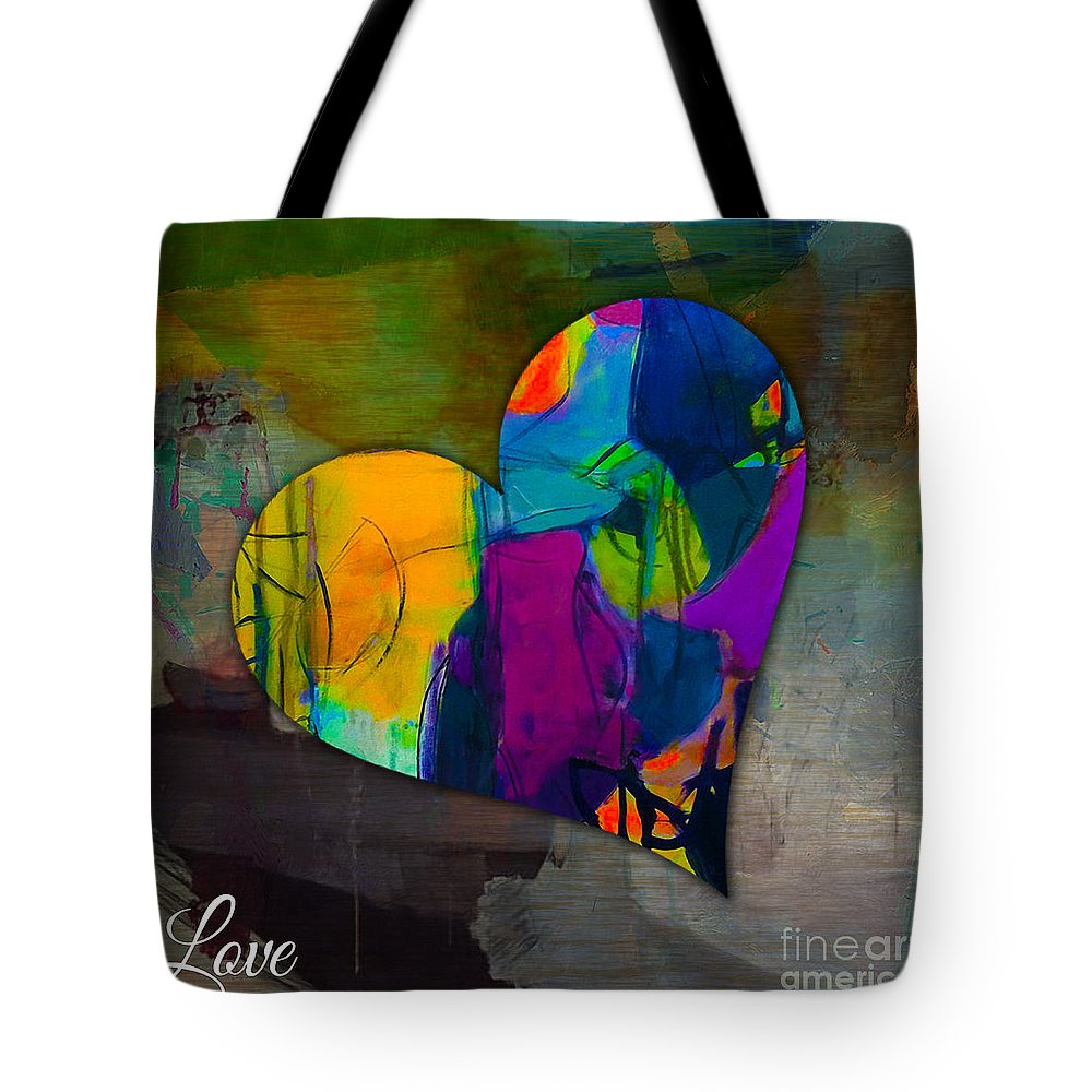 Heart Mixed Media Tote Bag featuring the mixed media Love by Marvin Blaine