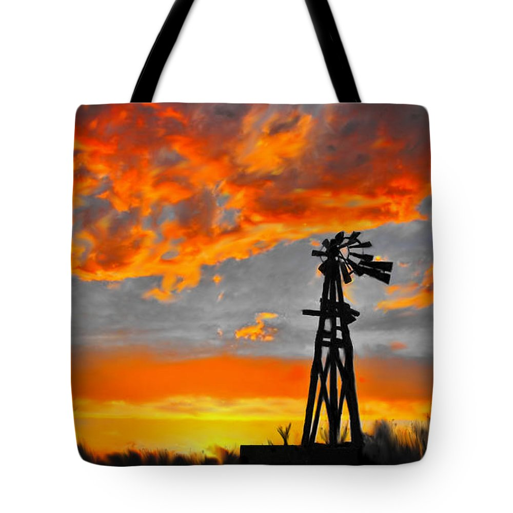 Lubbock Tote Bag featuring the mixed media Lubbock Skyline by G Cannon