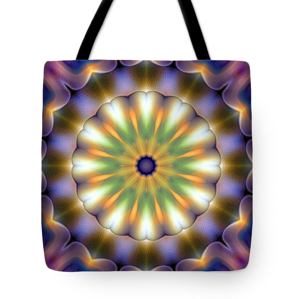Tibetan Art Tote Bag featuring the digital art Mandala 105 by Terry Reynoldson