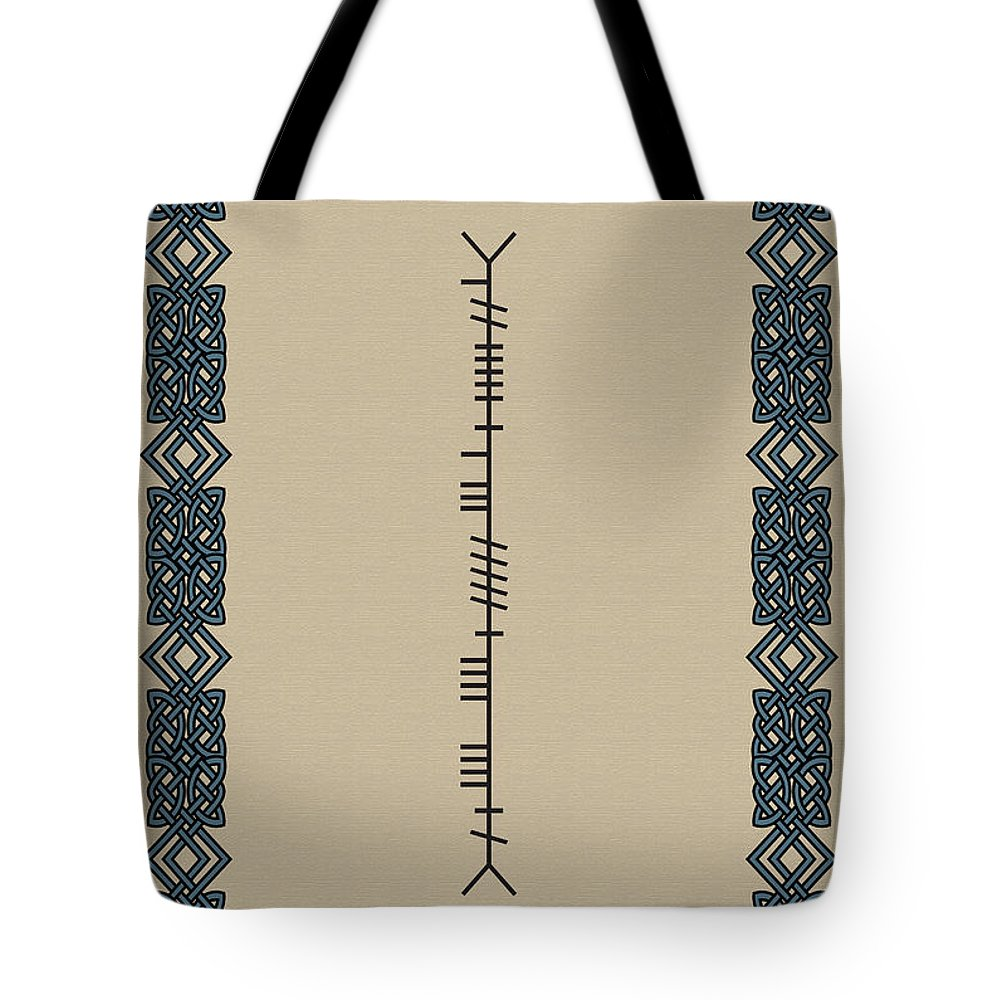 Ancient Tote Bag featuring the digital art Mccarthy Written In Ogham by Ireland Calling