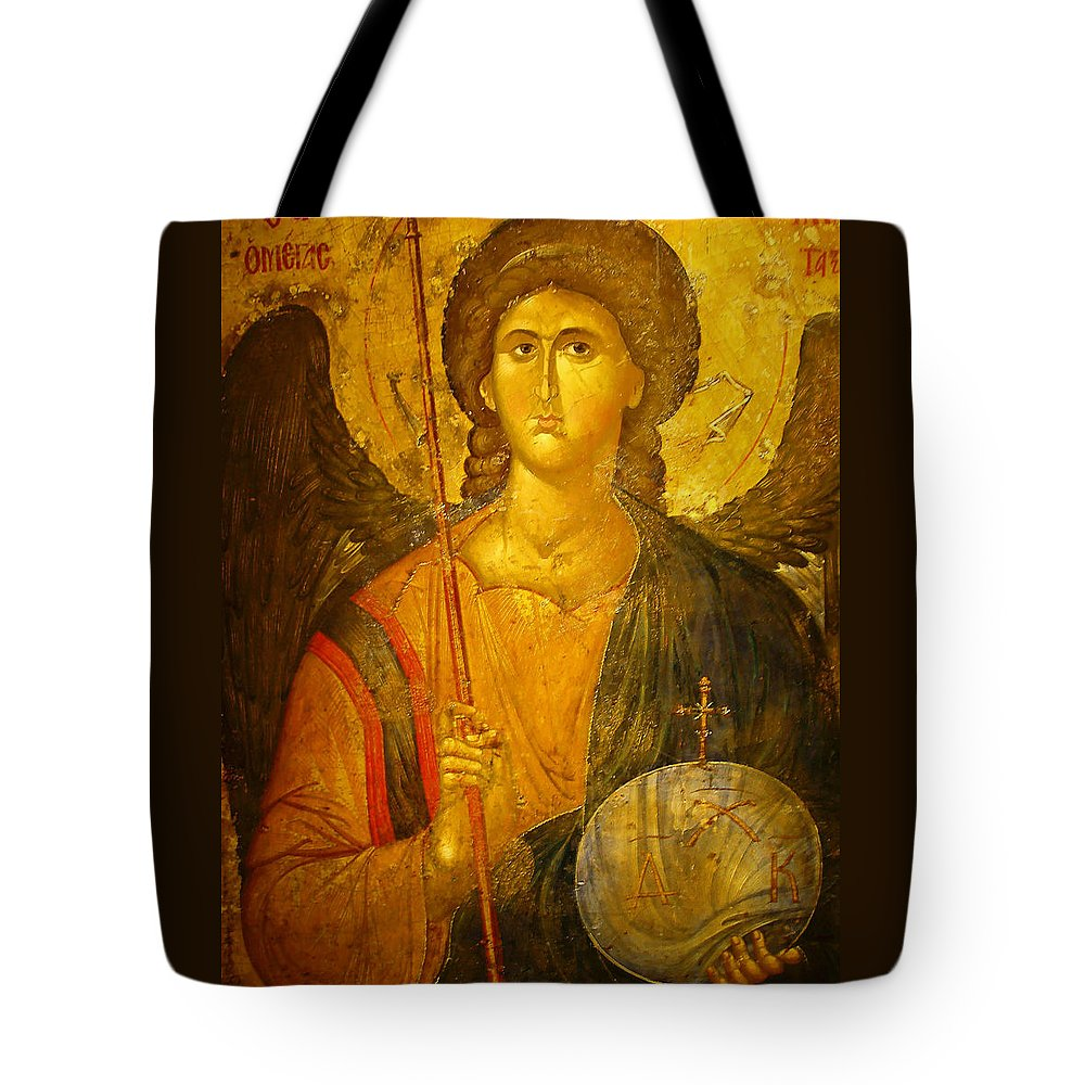 Michael The Archangel Tote Bag featuring the photograph Michael The Archangel by Ellen Henneke