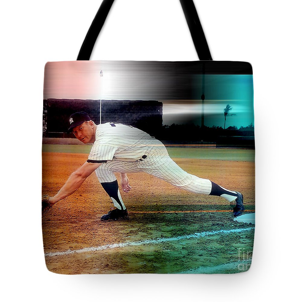 Mickey Photographs Tote Bag featuring the mixed media Mickey Mantle by Marvin Blaine
