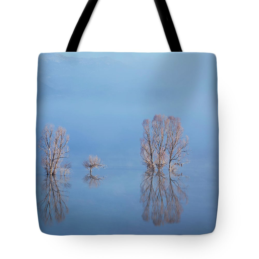Water's Edge Tote Bag featuring the photograph Misty Lake In Spring by Temizyurek