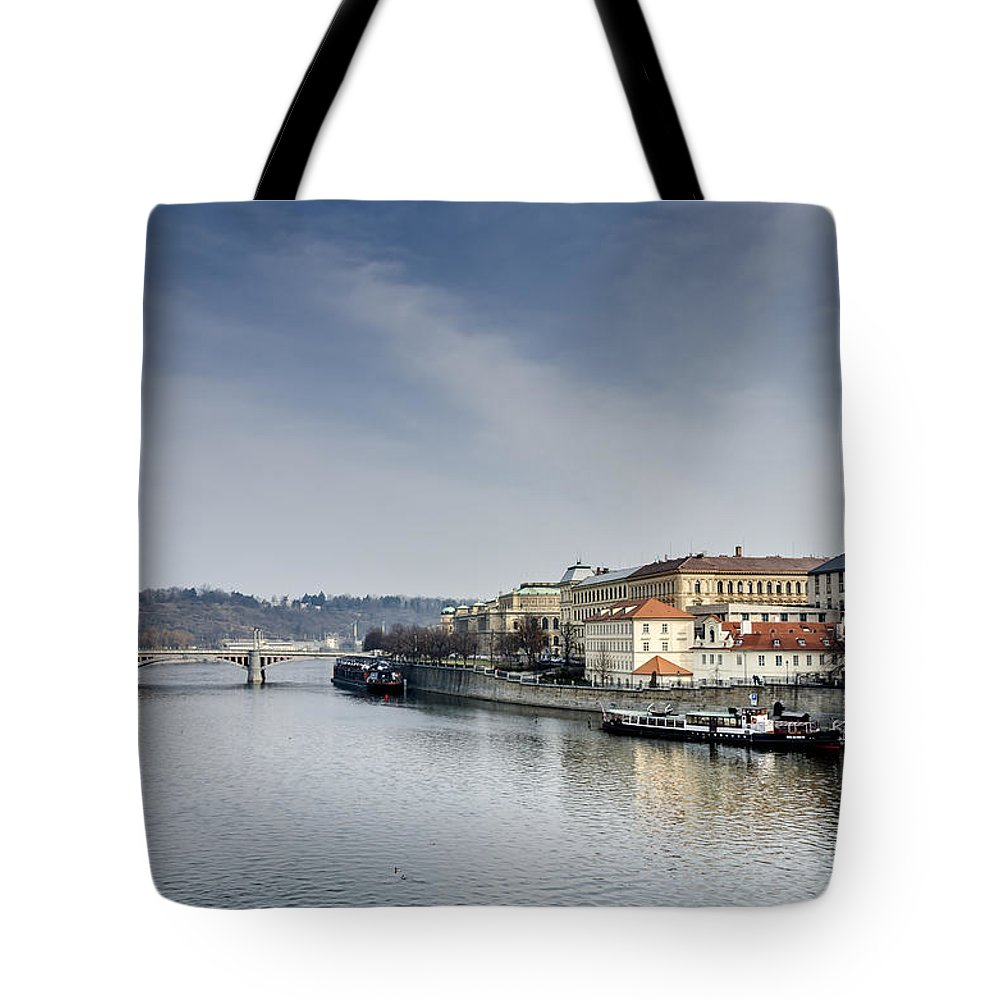 Bridge Tote Bag featuring the photograph Moldava River In Prague by Zuissell