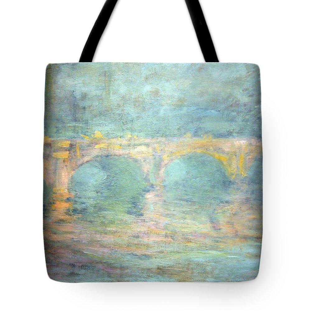 Waterloo Bridge Tote Bag featuring the photograph Monet's Waterloo Bridge In London At Sunset by Cora Wandel