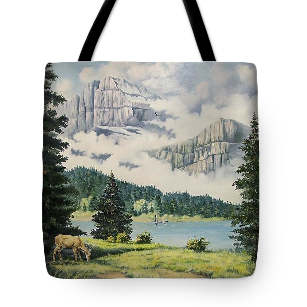 Landscape Tote Bag featuring the painting Morning At The Glacier by Wanda Dansereau