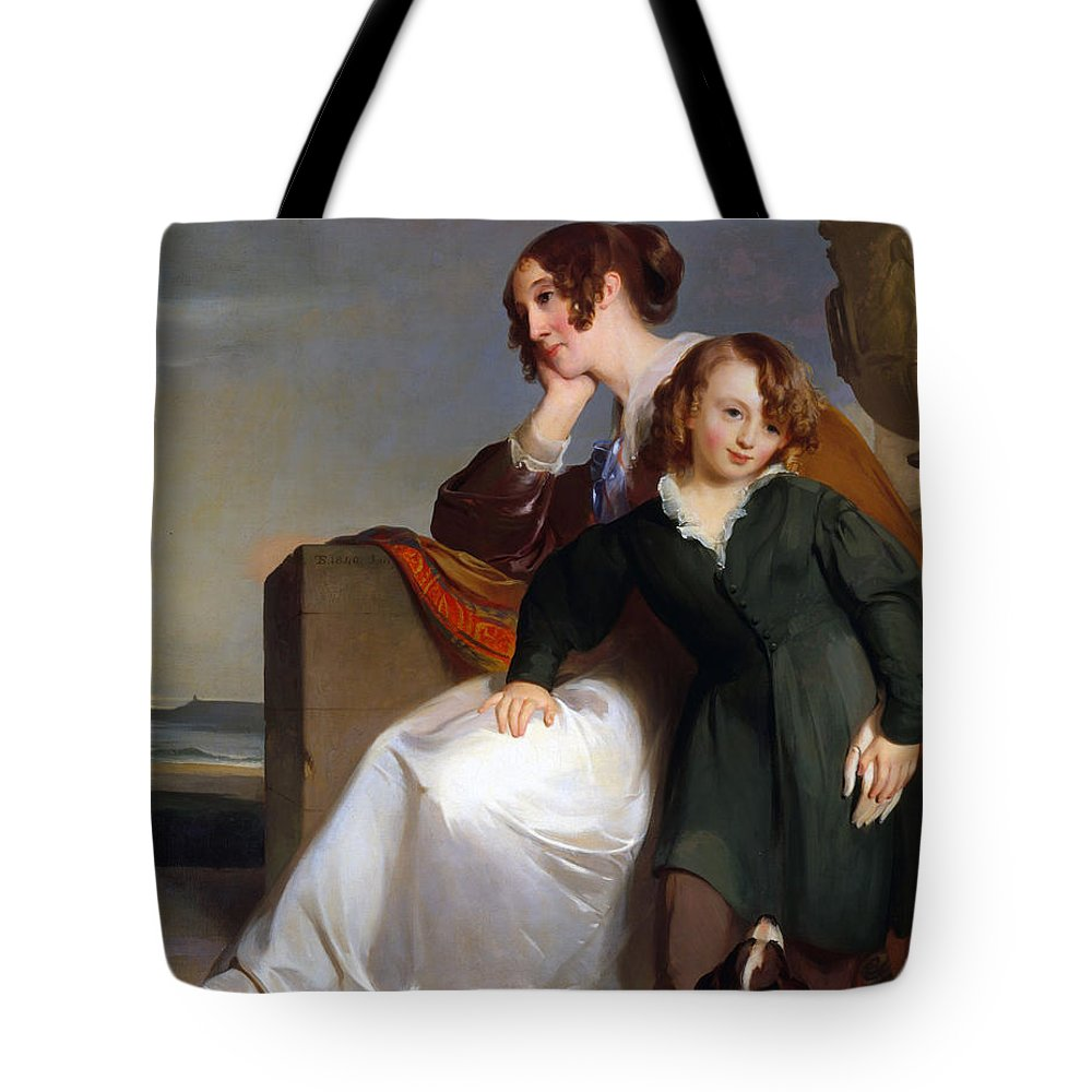 Mother And Son Tote Bag featuring the painting Mother And Son by Celestial Images