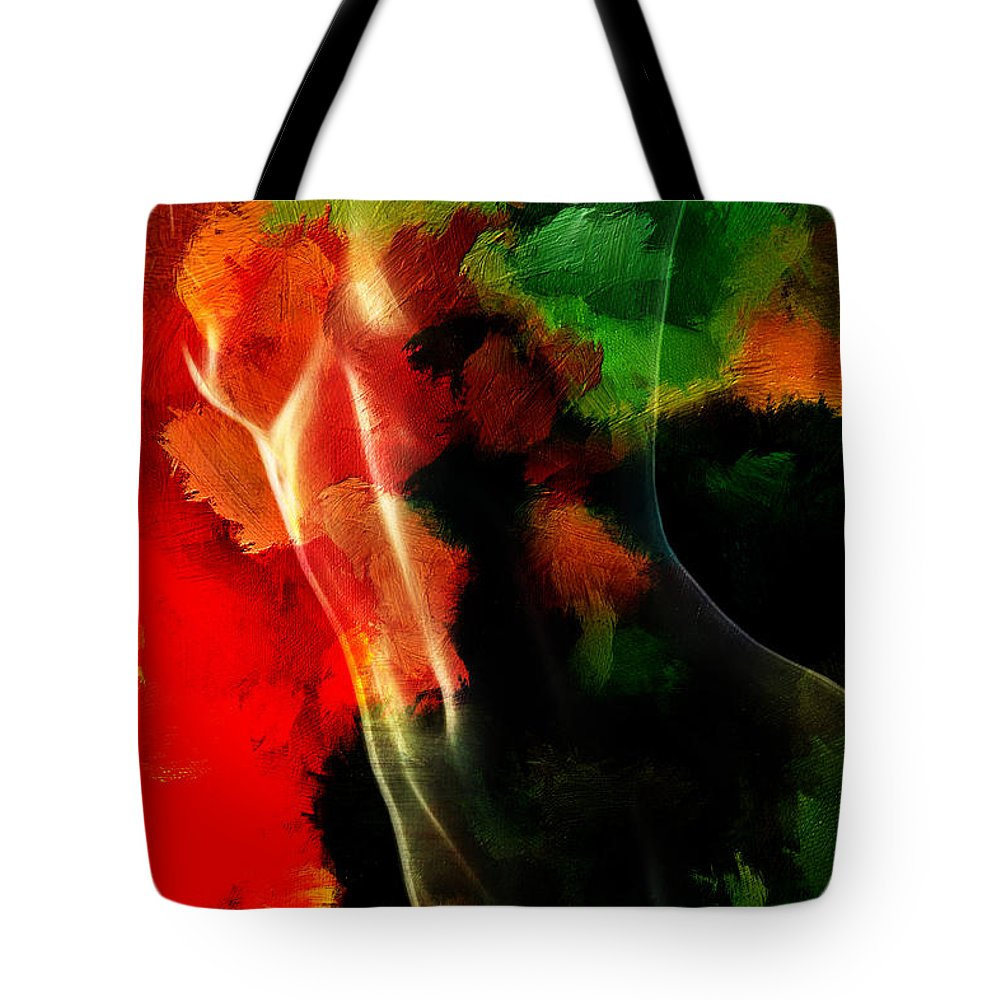 Tree Body Woman Female Girl Expressionism Color Colorful Abstract Nude Naked Nature Mother Painting Erotic Tote Bag featuring the painting Mother Nature by Steve K