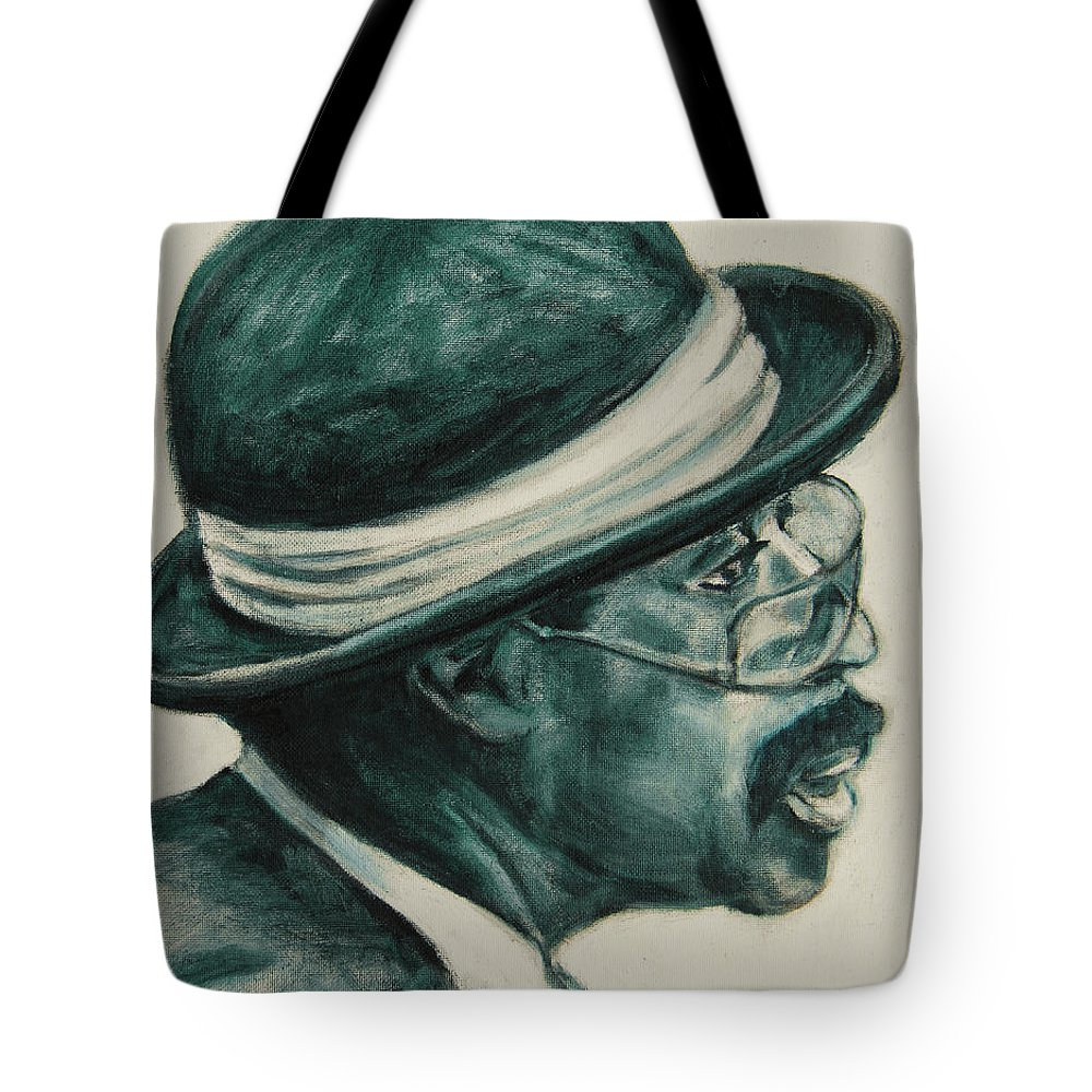 Black Tote Bag featuring the painting Mr Bowler Mustache by Xueling Zou