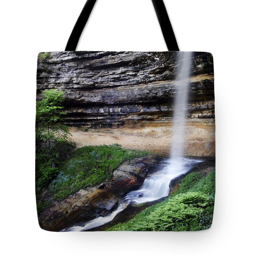 3scape Tote Bag featuring the photograph Munising Falls by Adam Romanowicz