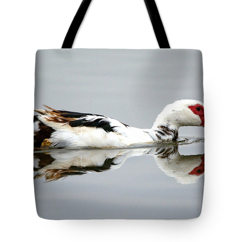 Roy Williams Tote Bag featuring the photograph Muscovy Water Reflection by Roy Williams