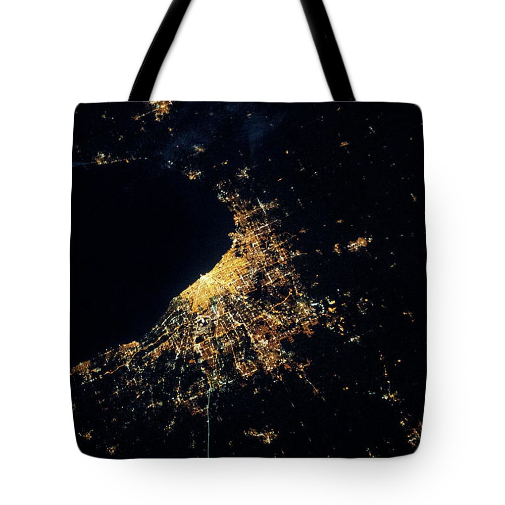 Photography Tote Bag featuring the photograph Night Time Satellite Image Of Chicago by Panoramic Images