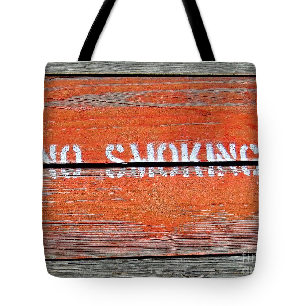 Wood Tote Bag featuring the photograph No Smoking by Ed Weidman