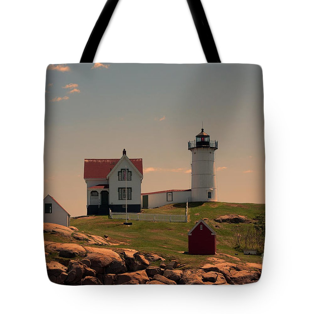 Maine Tote Bag featuring the photograph Nubble Light by K Hines