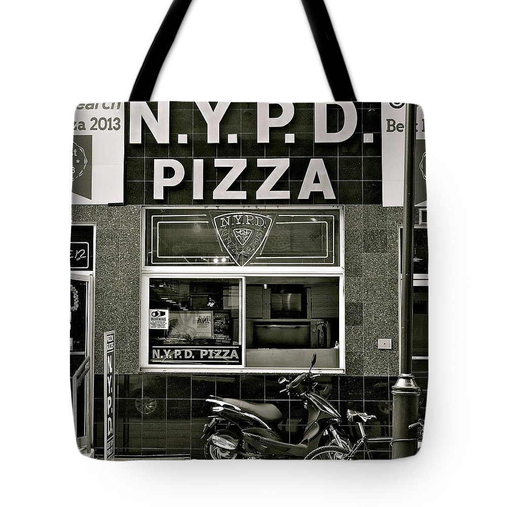 N.y.p.d. Tote Bag featuring the photograph N.y.p.d. Pizza by Ira Shander
