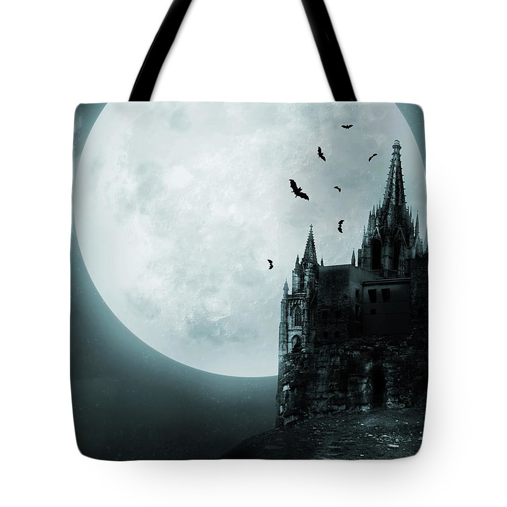 Gothic Style Tote Bag featuring the photograph Old Castle by Vladgans