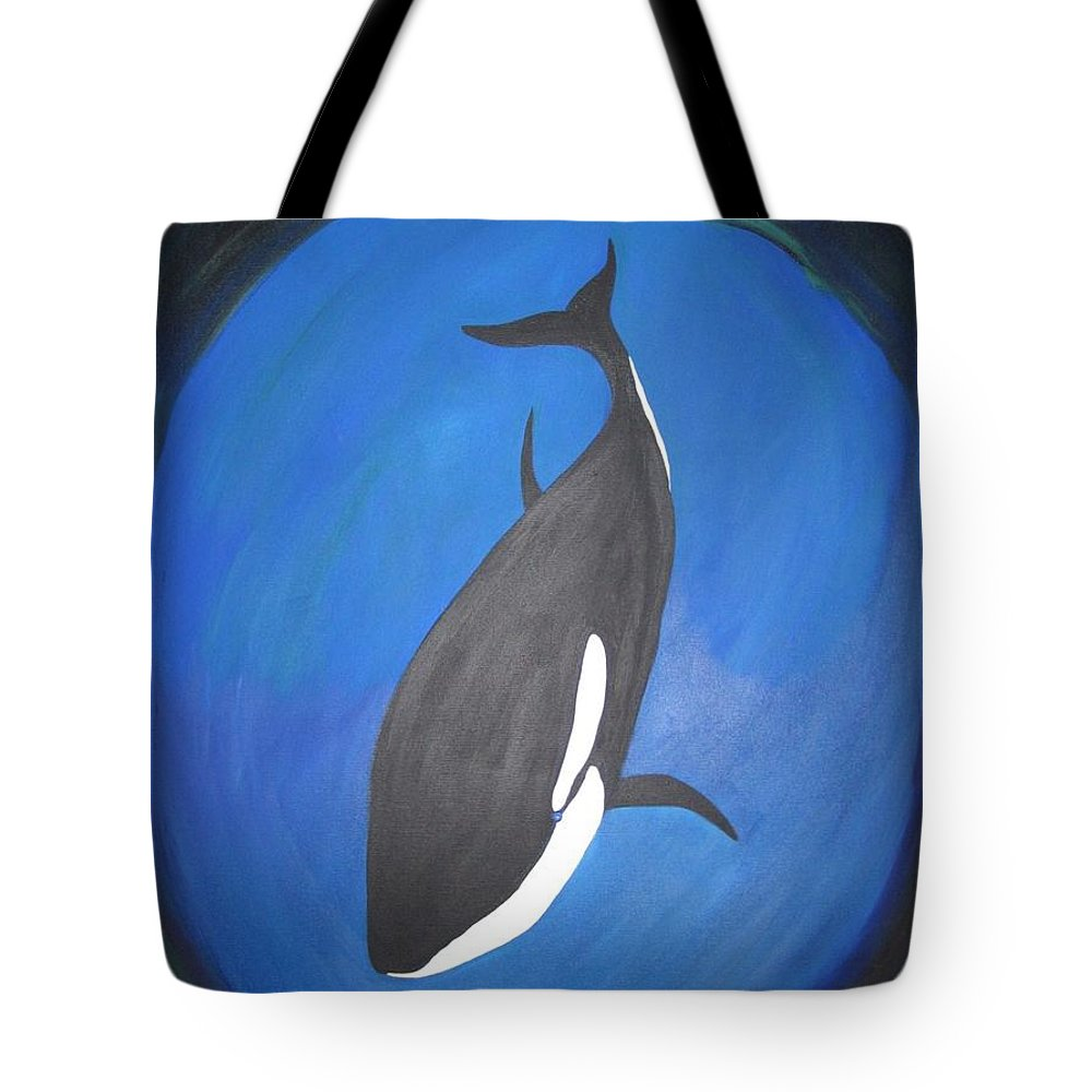 Sealife Tote Bag featuring the painting Orca by Zoe Vega Questell