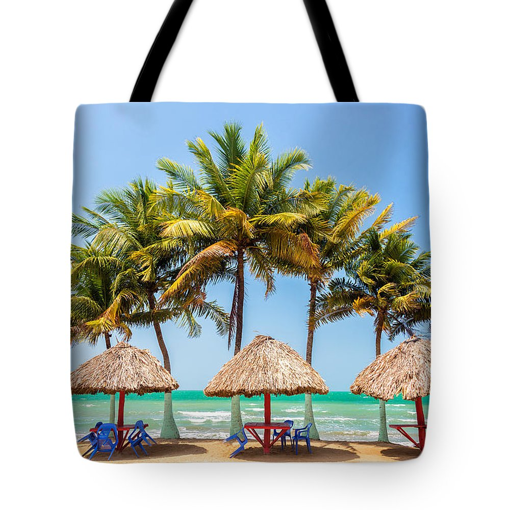 Covenas Tote Bag featuring the photograph Palm Trees And Sea by Jess Kraft