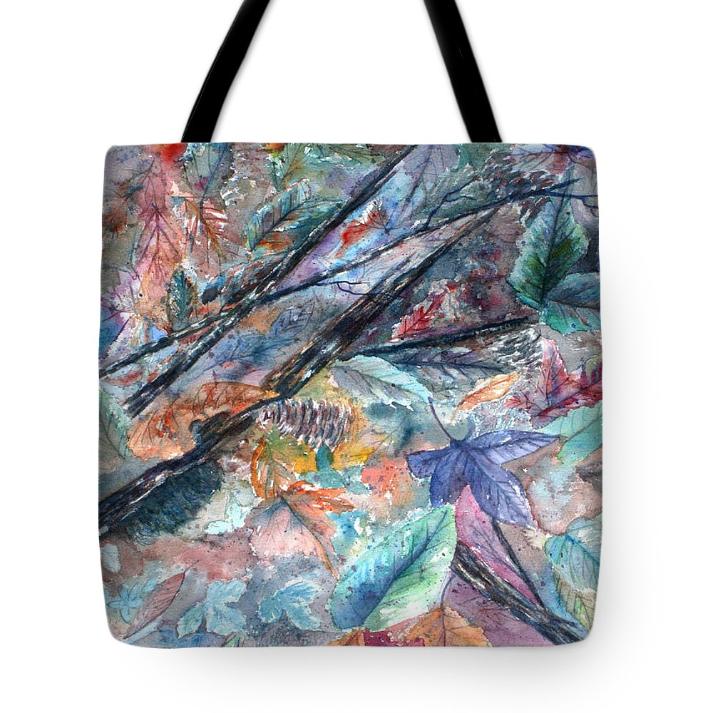 Pine Cones Tote Bag featuring the painting Pattern of Leaves by Ben Kiger