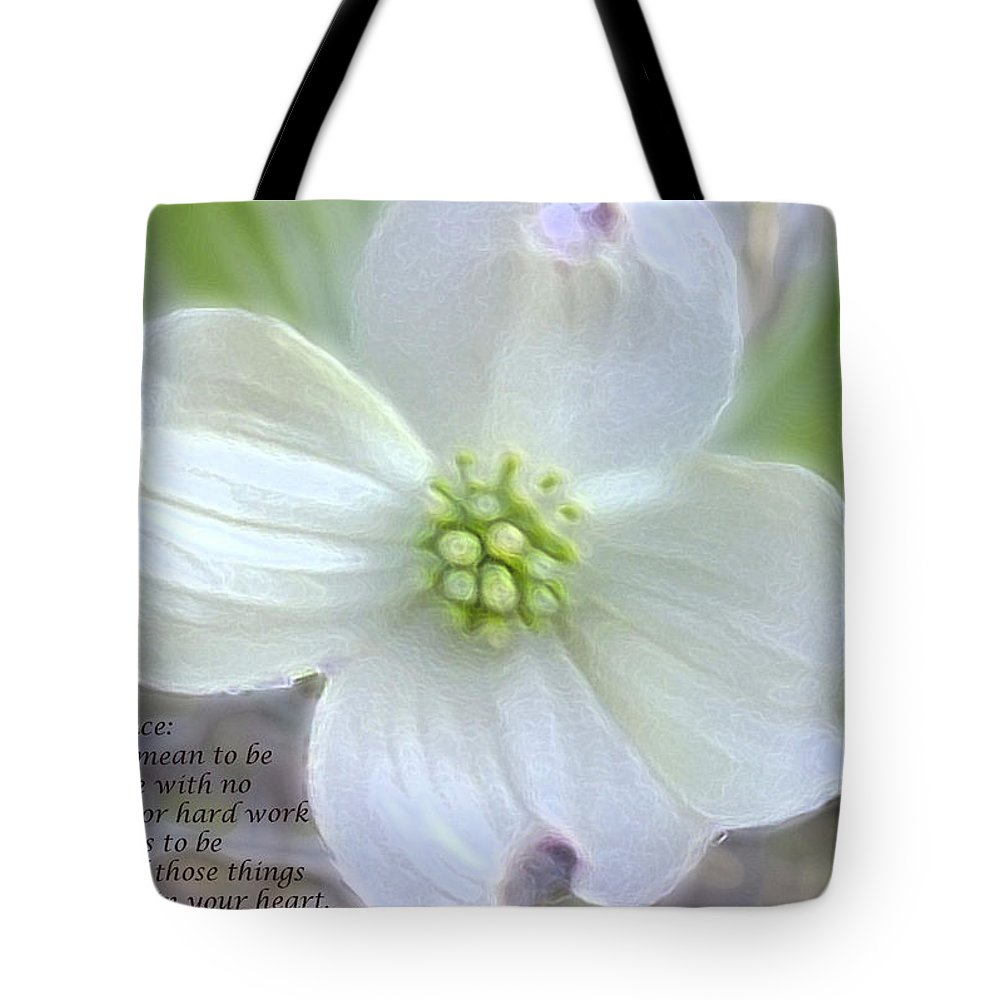 Quote Tote Bag featuring the digital art Peace- by Sandra Clark