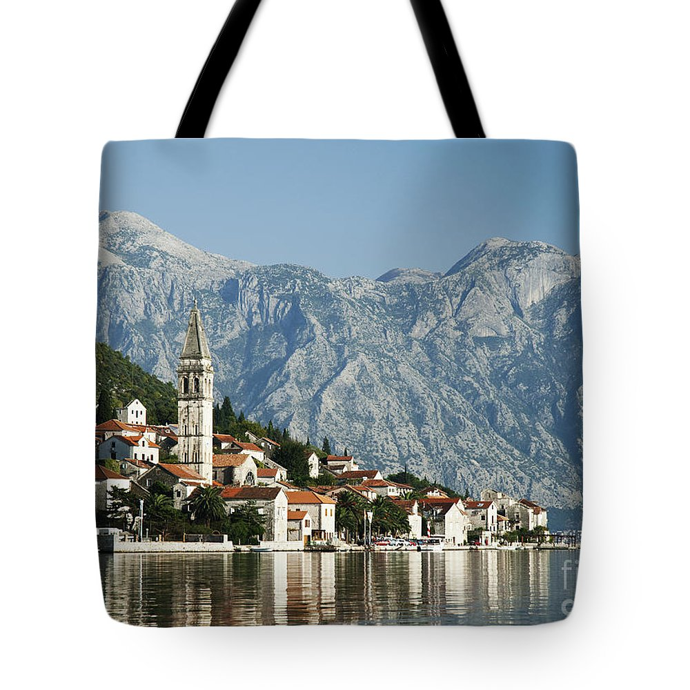 Adriatic Tote Bag featuring the photograph Perast In Kotor Bay Montenegro by Jacek Malipan
