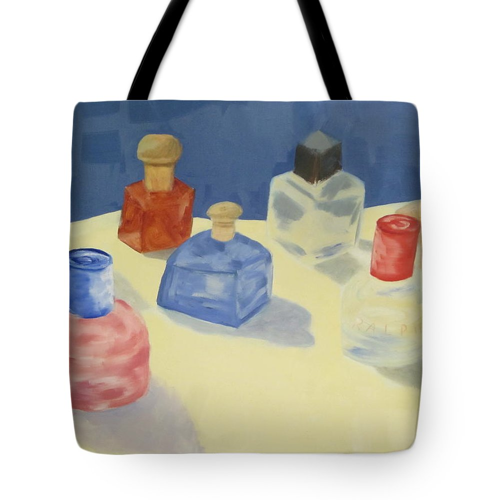 Perfume Bottles Tote Bag featuring the painting Perfume Bottles by Patricia Cleasby