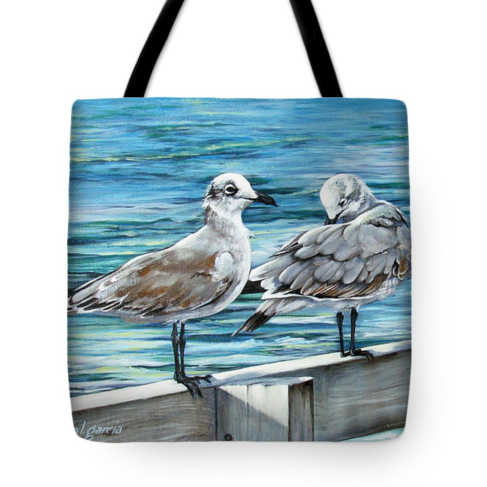 Seagulls Tote Bag featuring the painting Pier Gulls by Joan Garcia