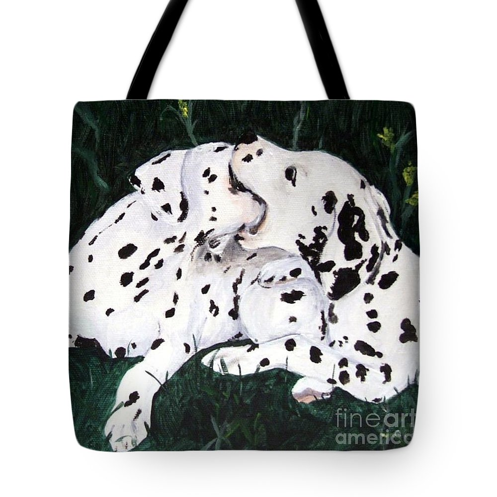 Dogs Tote Bag featuring the painting Playful Pups by Jacki McGovern