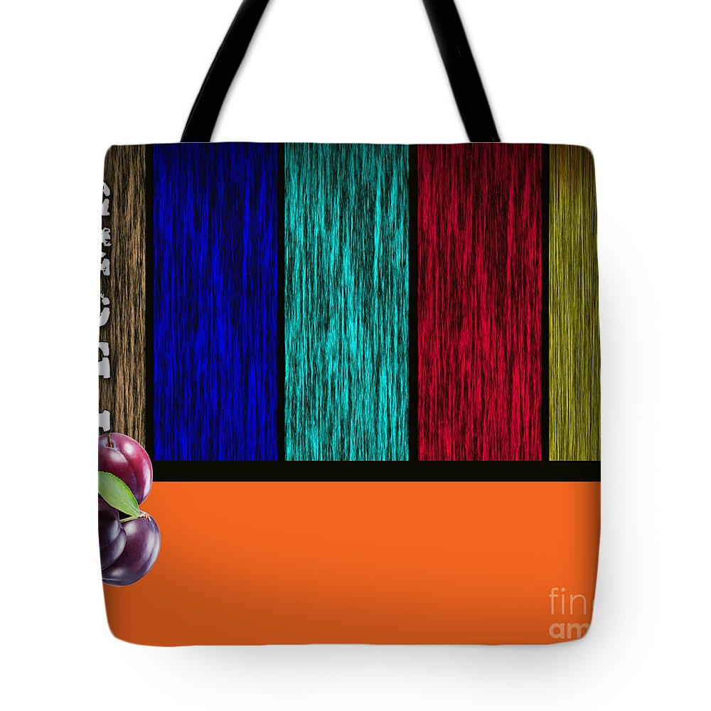 Plums Paintings Tote Bag featuring the mixed media Plums by Marvin Blaine
