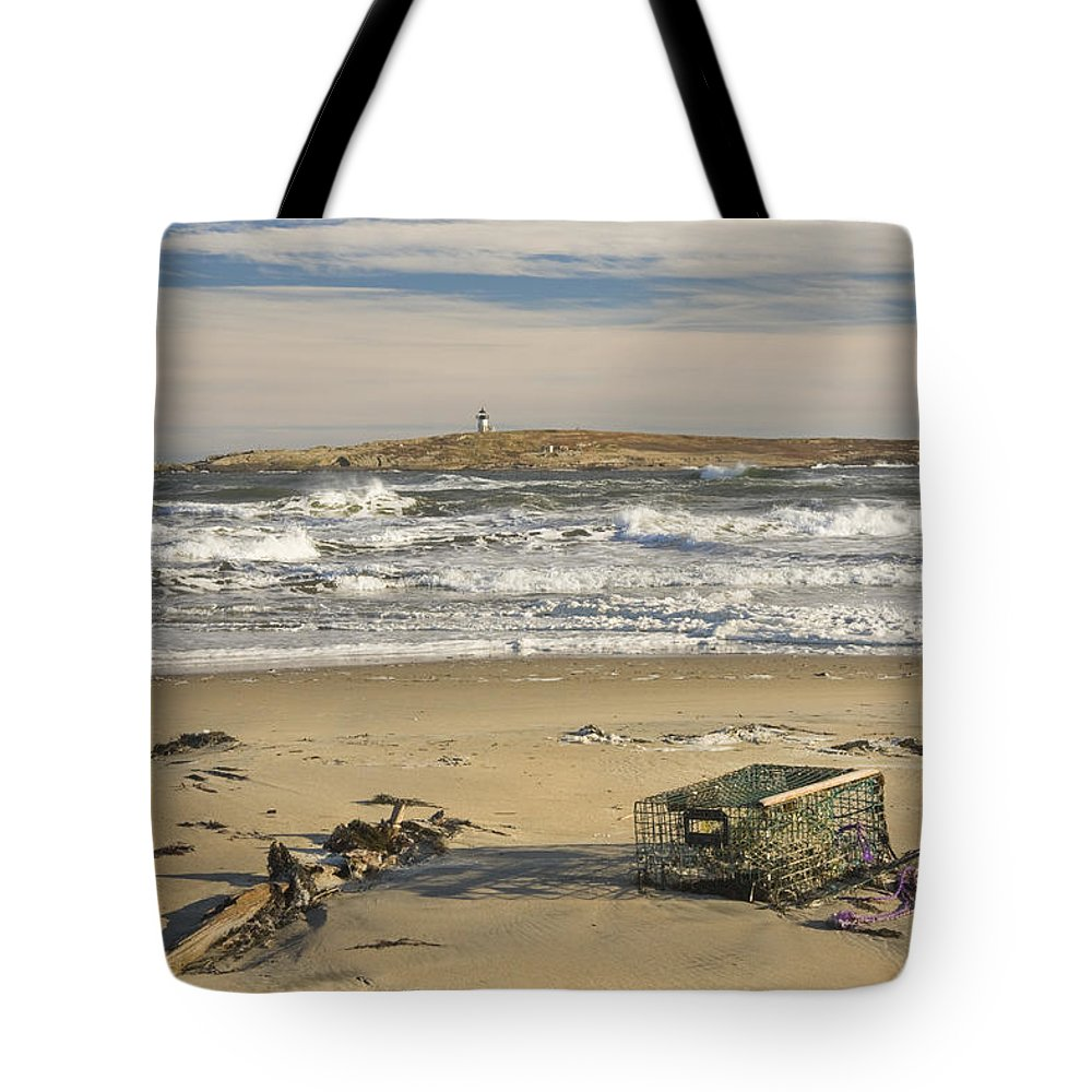 Maine Tote Bag featuring the photograph Popham Beach On The Maine Coast by Keith Webber Jr