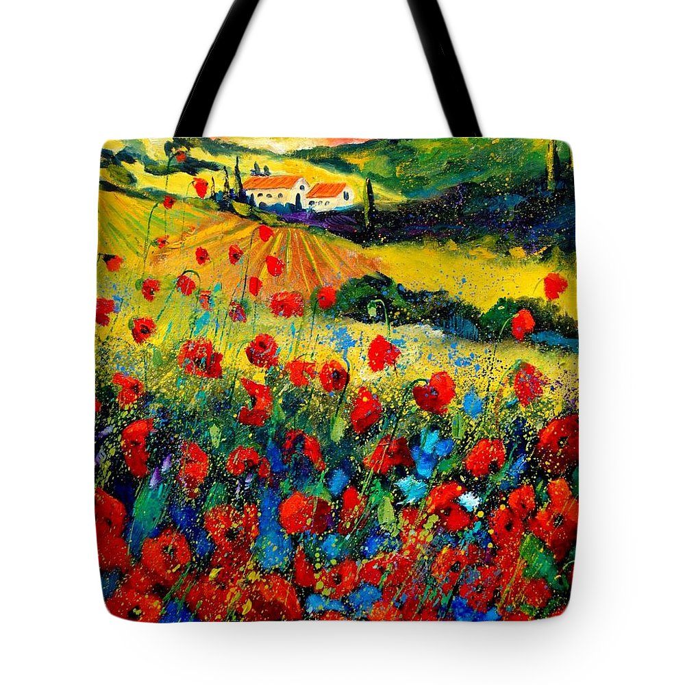 Flowersn Landscape Tote Bag featuring the painting Poppies in Tuscany by Pol Ledent
