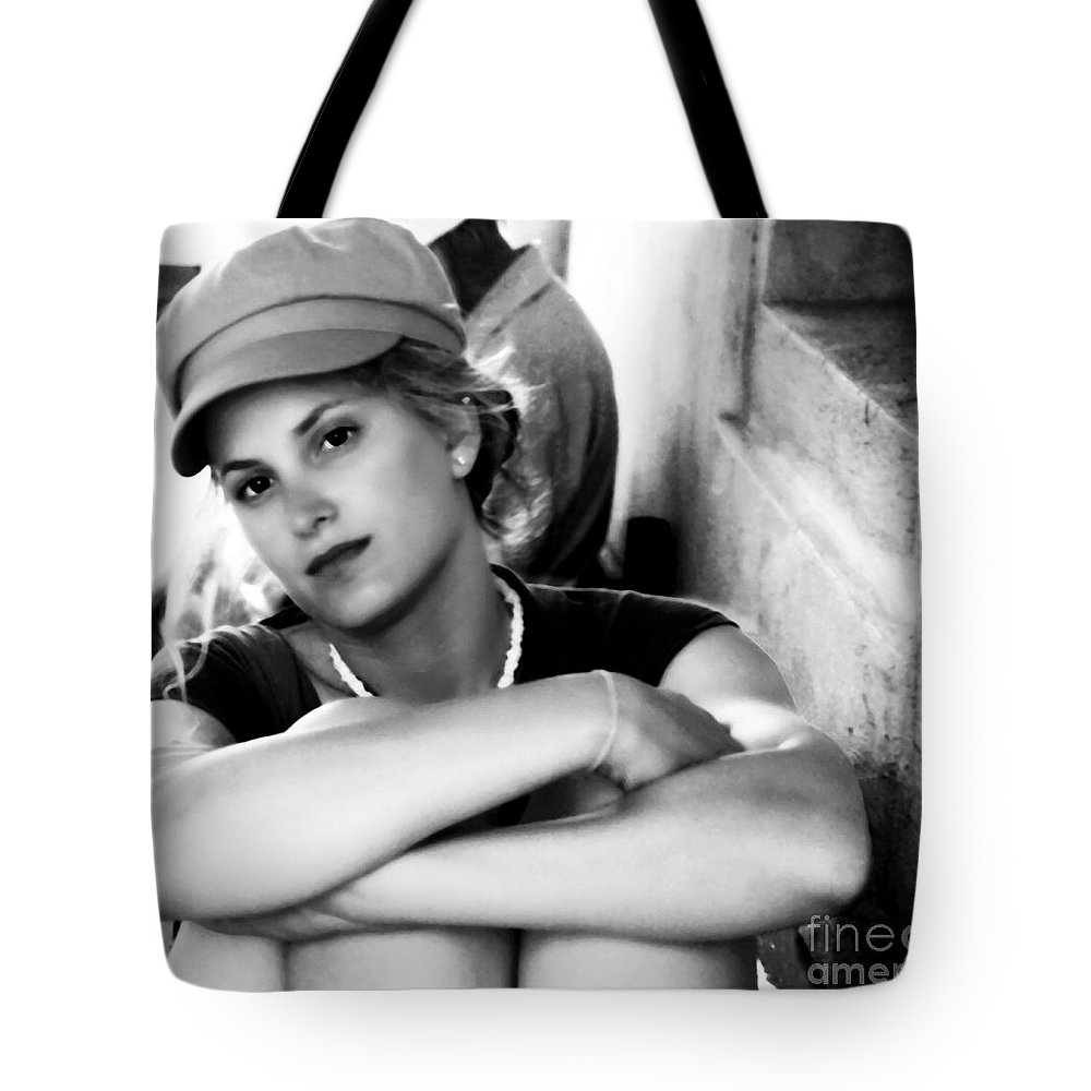 Woman Tote Bag featuring the photograph Portrait In Black And White by Madeline Ellis