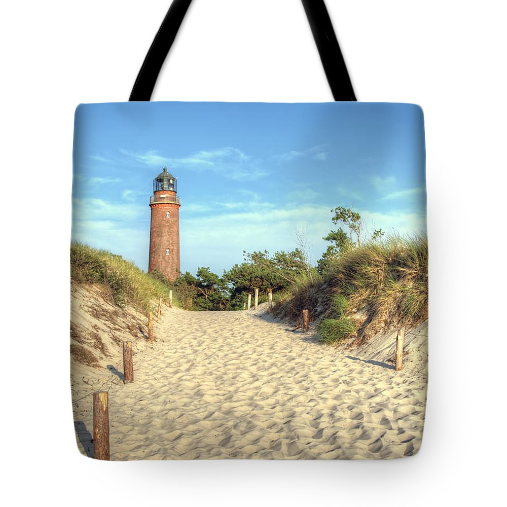 Ostsee Tote Bag featuring the pyrography Prerow Lightning by Steffen Gierok