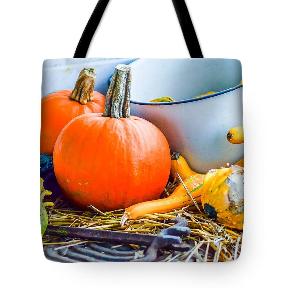 Arrangement Tote Bag featuring the photograph Pumpkins Decorations by Alex Grichenko