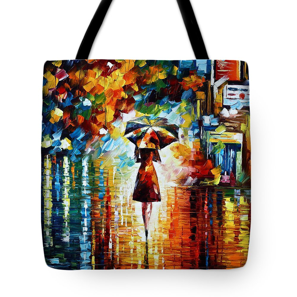 Rain Tote Bag featuring the painting Rain Princess - Palette Knife Landscape Oil Painting On Canvas By Leonid Afremov by Leonid Afremov