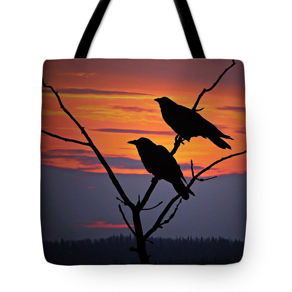 Raven Tote Bag featuring the photograph 2 Ravens by Ron Day