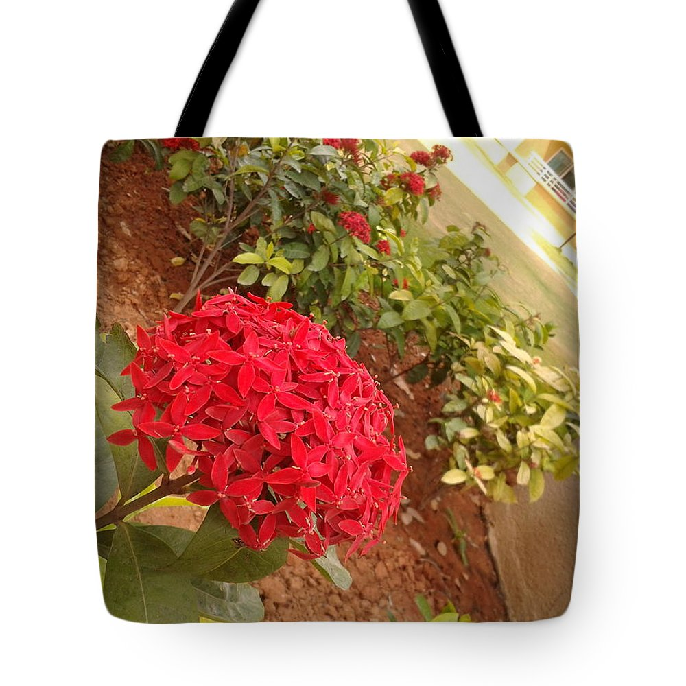 Red Flower Tote Bag featuring the photograph Red Flower by Artist Nandika Dutt