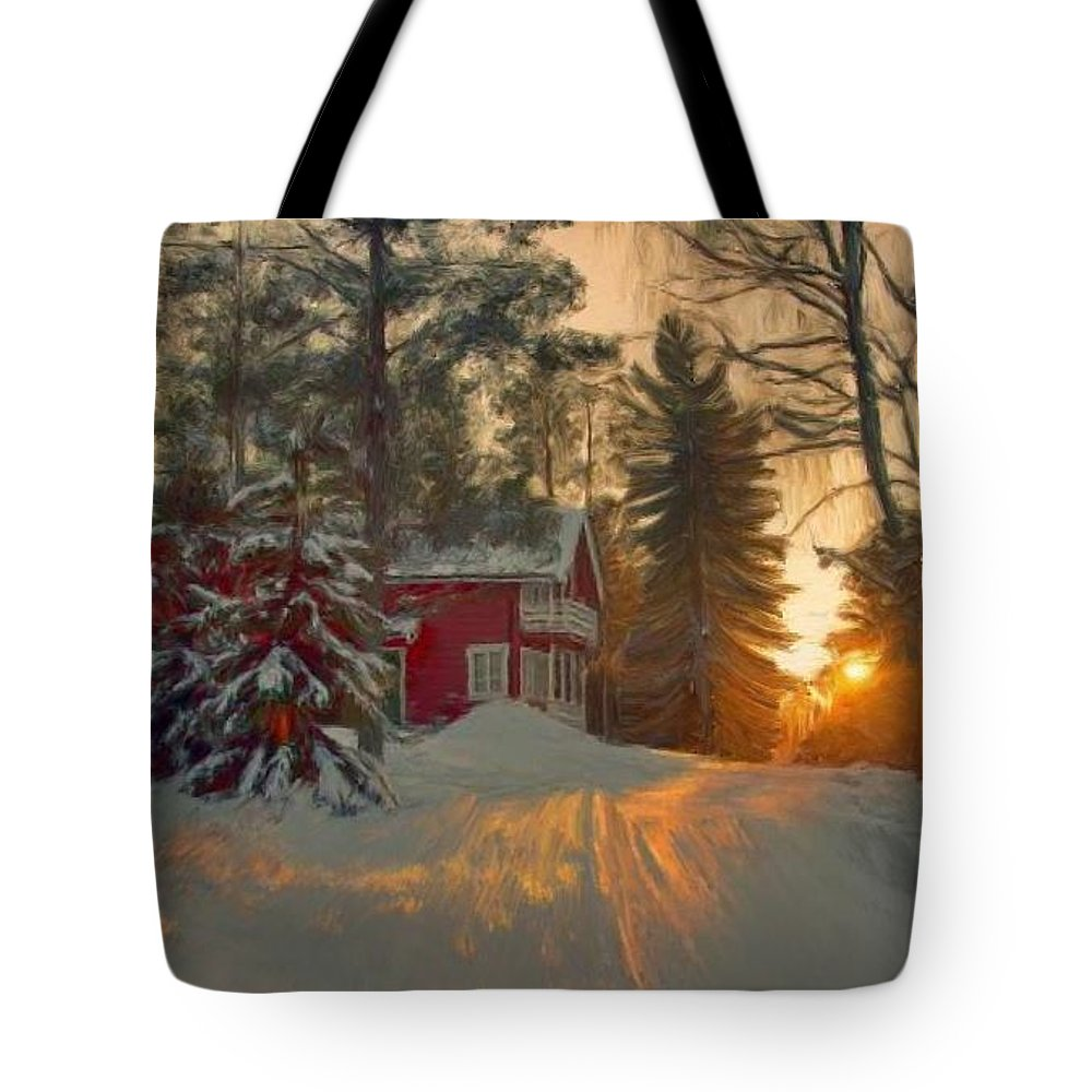 Red Tote Bag featuring the painting Red House In The Winter by Bruce Nutting