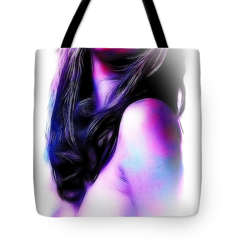 Woman Girl Female Lips Erotic Face Drawing Painting Nude Naked Boobs Desire Red Tote Bag featuring the painting Red Lips by Steve K