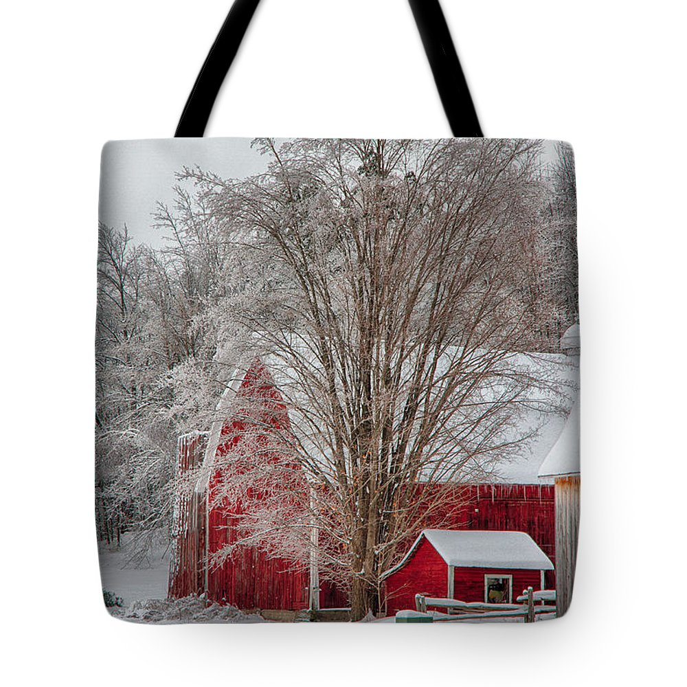 Scenic Vermont Photographs Tote Bag featuring the photograph Red Vermont Barn by Jeff Folger