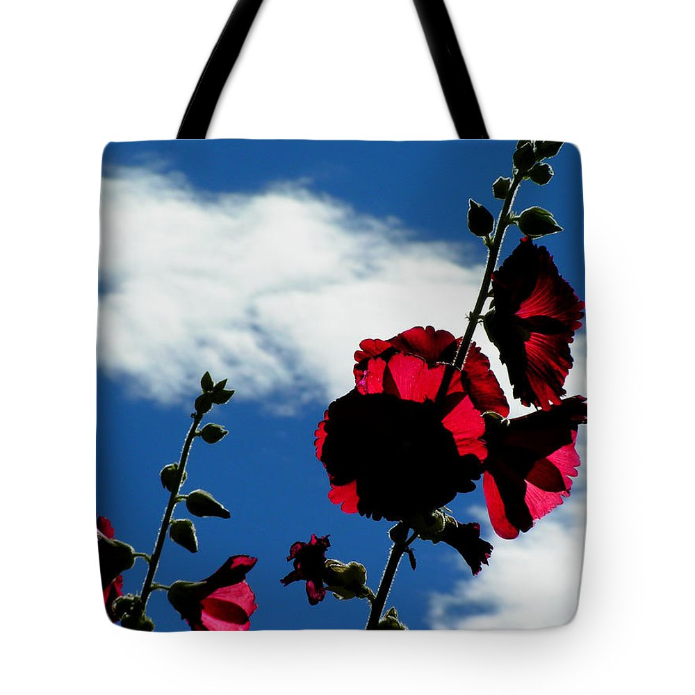 Red White Blue Hollyhock Flowers Nature Sky Clouds Colorado Rockymountains Simple Tote Bag featuring the photograph Red White And Blue by George Tuffy